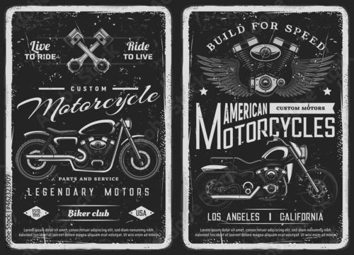 Billede på lærred Bike and custom motorcycle vintage posters