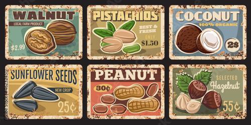 Fototapeta Nuts and seeds rusty plates