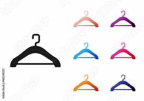 Fotografie, Obraz Black Hanger wardrobe icon isolated on white background