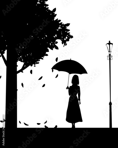 Obraz na plátně Silhouette of cute girl with umbrella, black color, autumn, tree, street lamp