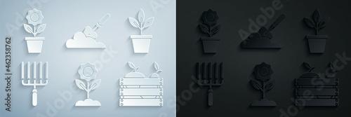 Fotografie, Obraz Set Flower, Flowers in pot, Garden rake work, Wooden box for fruits and vegetables, trowel spade shovel the ground and icon