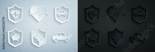 Canvas Print Set Life insurance with shield, Car, Piggy bank, and icon. Vector