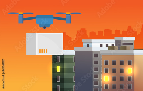 Photo Remote air drone with a box in flat style vector