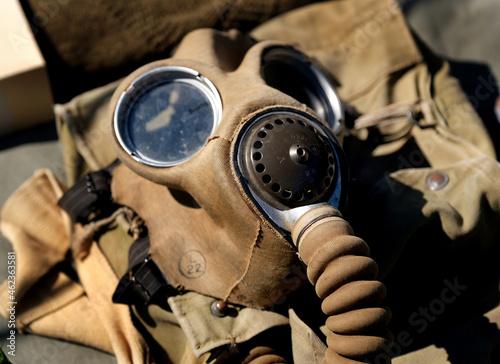 Fototapeta Second world war military gas protection mask.