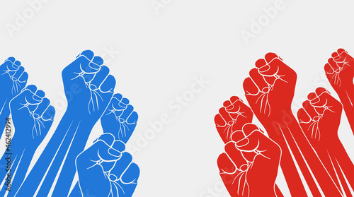 Fotografie, Obraz Group of red raised fists against group of blue raised fists, isolated on white background