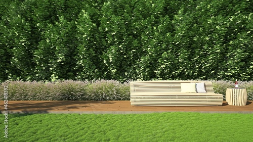 Fotografija 3D rendering of a blank exterior wall There are tree walls and wooden floors
