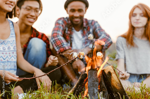 Slika na platnu Multiracial friends frying bread at stake while sitting on grass