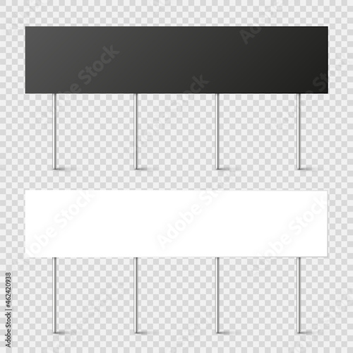 Canvas Black and white blank boards with place for text, protest sign