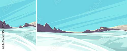 Canvas Print Beautiful winter landscape. Non-urban scene in different formats.