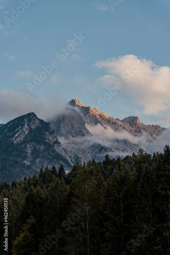 Photo Alpenglow on mountain peaks with forest