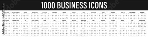 Set of 1000 Business icons. Business and Finance web icons in line style. Money, bank, contact, infographic. Icon collection. Vector illustration.