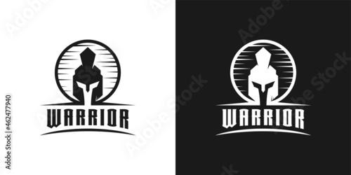 Obraz na plátně Knight spartan, warrior, gladiator helmet head logo design inspiration