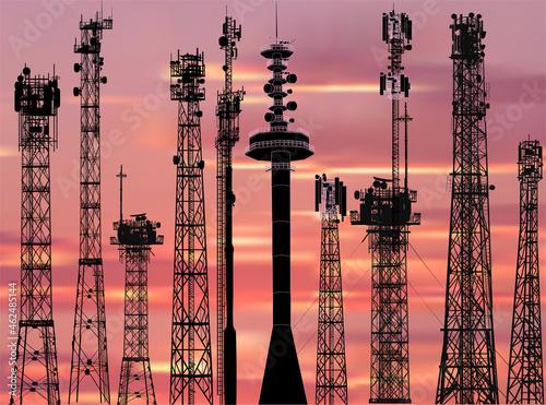 Fotografie, Obraz set of ten antenna silhouettes on sunset background