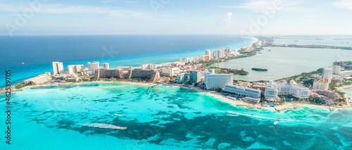 Aerial view of Cancun beach in Mexico. Caribbean coast landscape on Yucatan Peninsula
