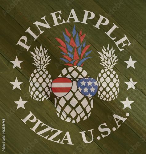 Pineapple pizza sign on wood grain texture #462556968