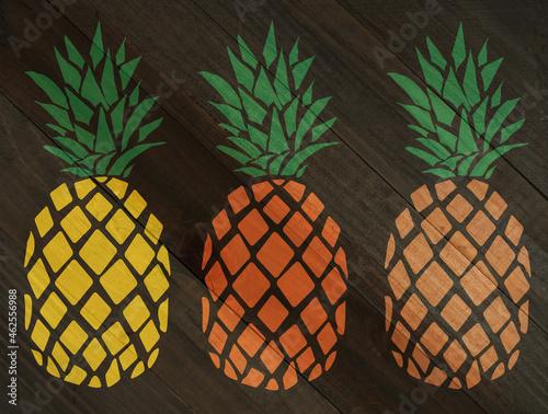 Pineapple on wood grain texture #462556988