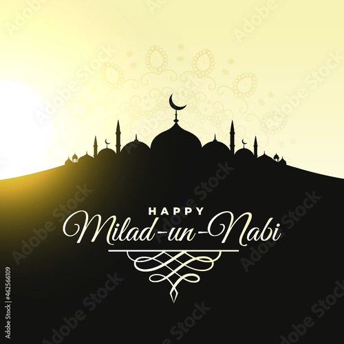 Wallpaper Mural Happy Maulid Nabi Muhammad, or Mawlid al nabi Muhammad, or Mawlid Prophet Muhammad with luxury style