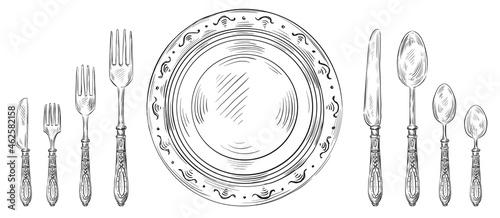 Fotografie, Obraz Vintage table setting