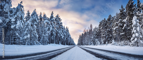 Panoramic view of the beautiful country road in winter
