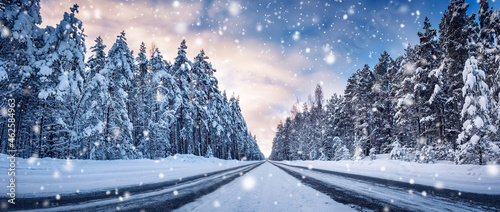 Panoramic view of the beautiful country road in winter in snowfall.