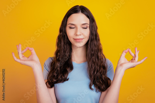 Canvastavla Portrait of charming youth feel content good looking meditate dream yoga balance