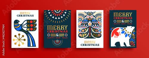 Tableau sur Toile Christmas New Year gold folk art retro card set