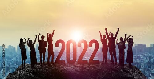 2022年イメージ ビジネス向け年賀状素材 喜ぶ人々 Fototapet