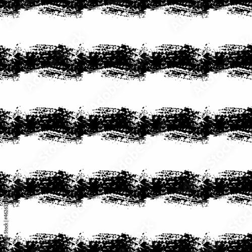 Canvas Print Vector Brush Seamless Pattern Grange Minimalist Geometric Design in Black Color