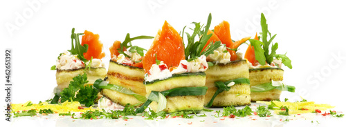 Fotografia Smoked Salmon Finger Food with Vegetables and Salad isolated on white Background