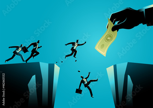 Fotografiet Businessmen trying to reach the money hold by giant hand separated by a ravine