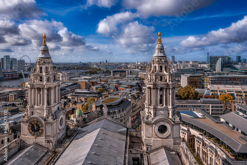 The towers of the Saint Paul's Cathedral with the cityscape of London shot from Fotobehang