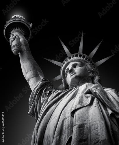 Obraz na plátně Statue of liberty in black and white fine art