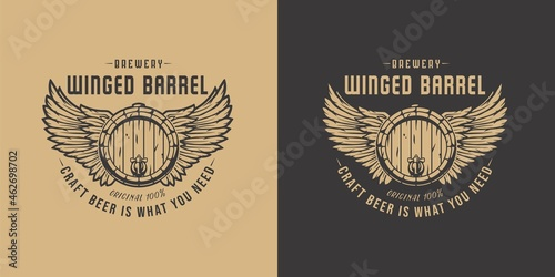 Fotografiet Beer fly barrel with wings for bar
