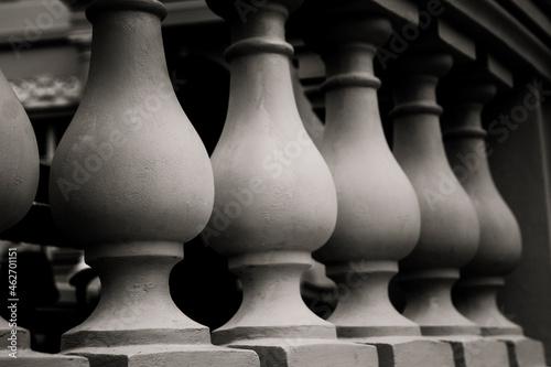 Fotografía black - white photo plaster balusters balustrade