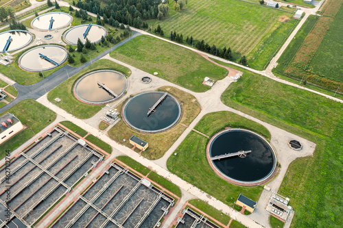 Slika na platnu Urban river water treatment, water filtration and purification, top view of the