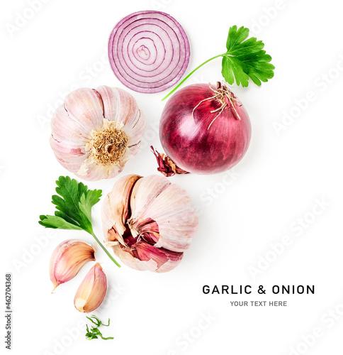 Fototapeta Red onion and garlic creative layout