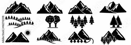 mountain icon, mountain vector, mountain logo sign symbol of nature landscape il Fototapet