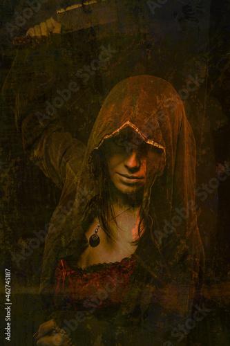 Obraz na plátně Pretty young woman in hood
