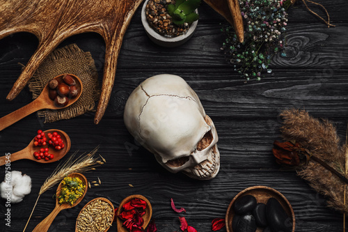 Fotografie, Obraz Ingredients for witch's ritual on wooden table