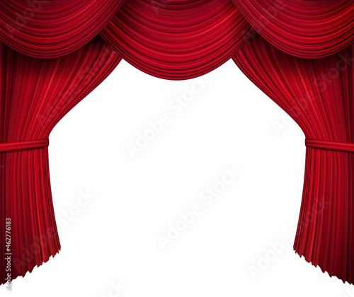 Fotografie, Obraz Red stage curtain for theater, opera scene drape backdrop, concert grand opening