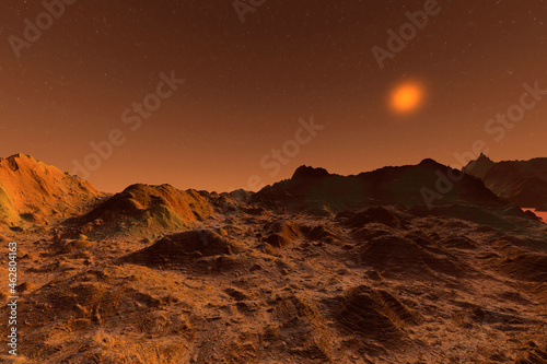 Wall mural 3D rendered Illustration of the surface of Planet Mars