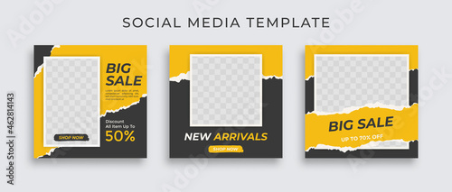 Editable set social media template post for promotion. template post for ads. design with yellow and black color.