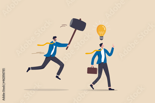 Obraz na plátne Jealousy colleague, toxic boss kill all ideas never been implemented, envy or dishonesty coworker with unprofessional, businessman got new idea lightbulb but being hit and destroy by colleague behind