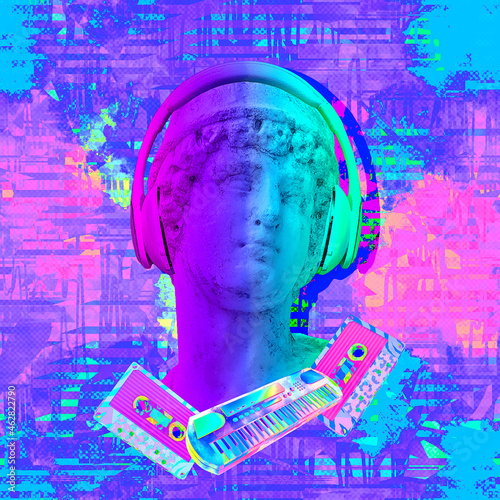 Contemporary minimal fashion concept collage. Antique statue male and Dj Disco stuff. Back in 90s party style. Zine and vapor wave cuture