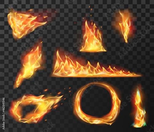 Obraz na plátně Realistic fire flame elements