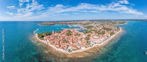 Canvas Print novigrad, drone, panorama, croatia, summer, city, istria, sea, town, church, adr