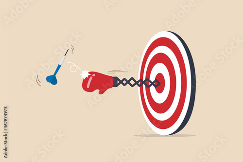 Wallpaper Mural Tough time or career struggle, trouble, difficulty or obstacle to achieve business target, hard situation to losing competition, boxing glove come out of dartboard bullseye to punch dart from target