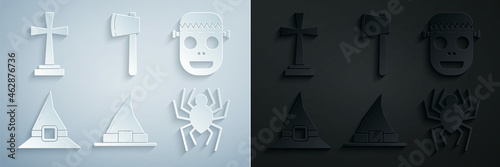 Slika na platnu Set Witch hat, Zombie mask, Spider, Wooden axe and Tombstone with cross icon