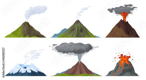 Photo Erupting volcano set vector flat illustration
