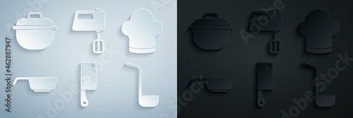 Set Meat chopper, Chef hat, Frying pan, Kitchen ladle, Electric mixer and Cooking pot icon Fototapeta